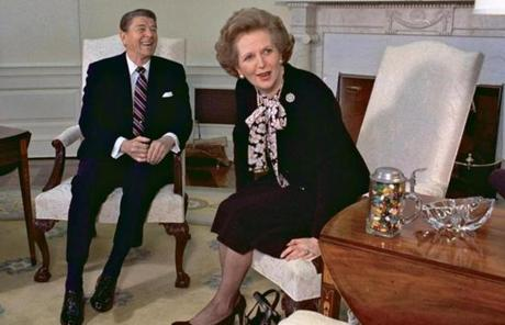 Thatcher met with her friend and political ally President Ronald Reagan during a visit to the White House in 1985.