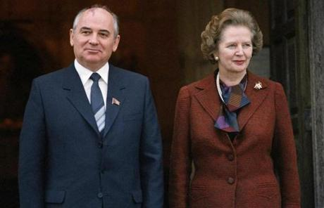 Thatcher posed with Mikhail Gorbachev in London in 1984.