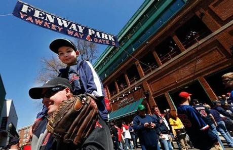 Fans filed into Fenway Park prior to the game between the home opener between the Orioles and Red Sox.