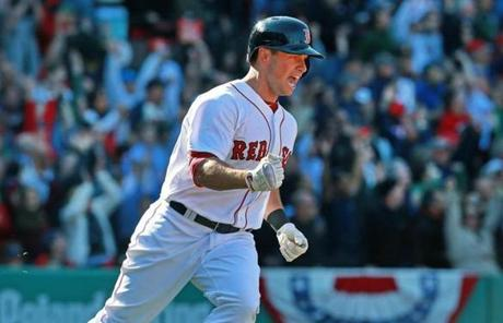 Daniel Nava reacted after hitting a three-run home run over the Green Monster to break a scoreless tie in the seventh inning.