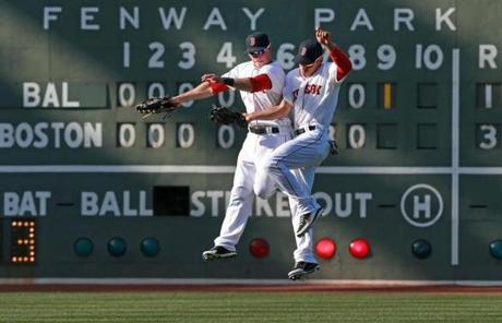 Daniel Nava (left) and Jacoby Ellsbury celebrated after the final out of the game.