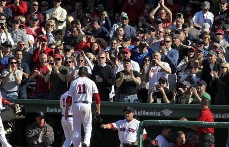 Fans cheered Red Sox starting pitcher Clay Buchholz after the seventh inning.