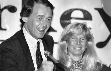 Representative Markey greeted supporters with his wife Susan during his 1992 victory speech at the Guest Quarters Suite Hotel in Waltham.
