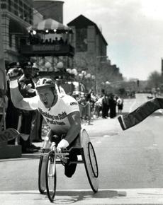 April 19, 1993:  The last American men's wheelchair winner, Jim Knaub, crossed the finish line in 1 hour, 22 minutes, 17 seconds. In doing so he broke his own world record and Boston Marathon record and collected $26,500 as well as the winner's wreath.