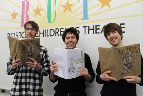 "Tom Rash of Rockport, Sean Crosley of Middleton, and Colin Budzyna of Newburyport appear in Boston Children's Theatre's production of ""Schoolhouse Rock!"" at the Boston Center for the Arts April 19 - May 5."