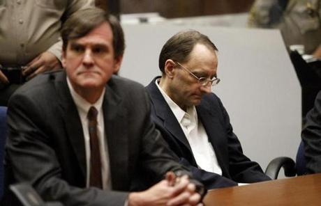 Christian Gerhartsreiter (right)  reacted after being found guilty Wednesday in the killing of John Sohus in 1985.