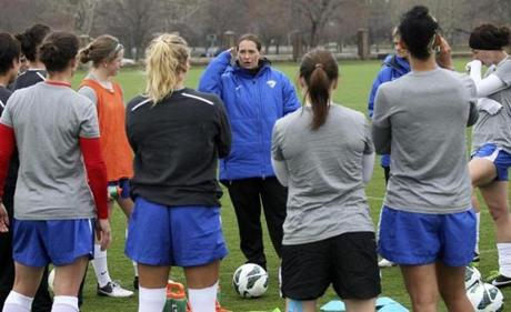 Boston Breakers head coach Lisa Cole talked to her team during practice Thursday at Cumnock Field.