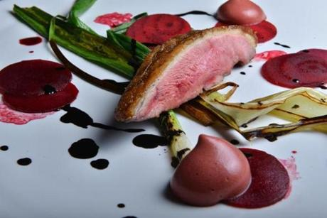 Rohan duck breast with raw, pickled, and roasted beets.
