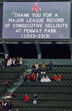 The Red Sox acknowledged the end of the streak on the video board at Fenway Park.
