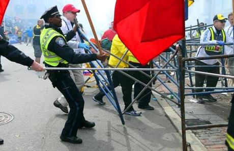Boston Police struggled to remove barricades to reach victims.
