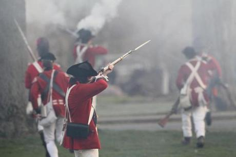 April 15, 2013-LEXINGTON--- PATRIOTS' DAY LEXINGTON, MA --British fire on Minute Men on Lexington Green during the 238th anniversary of Battle of Lexington , Monday Morning. (globe staff photo: Joanne Rathe The Boston Globe metro )