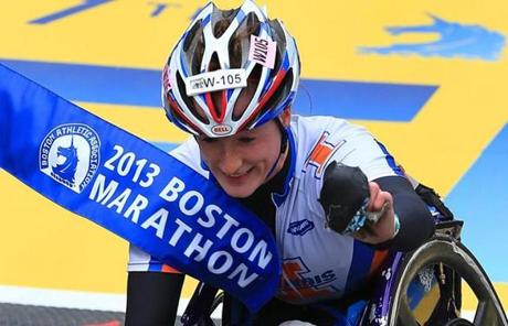 Tatyana McFadden of the US won the women's wheelchair division.