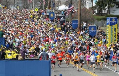 The herd of runners started the 117th Boston Marathon in Hopkinton.