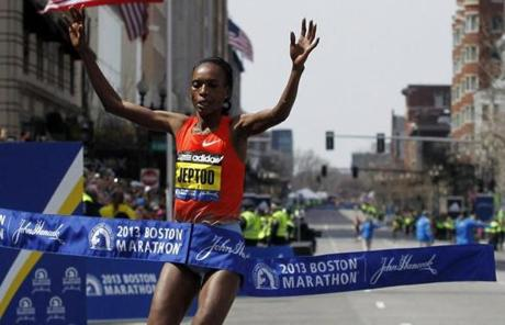 Rita Jeptoo of Kenya crossed the finish line.