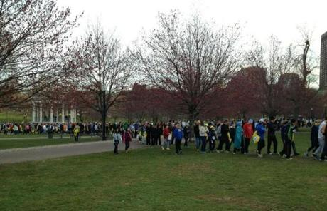 In Boston Common early Monday, runners headed to buses bound for the starting line in Hopkinton.