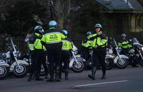 Police units assembled along the Boston Public Garden on Tuesday morning.