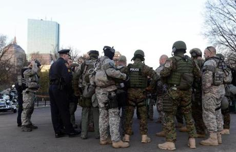 Special police units assembled in the Boston Common on Tuesday morning.