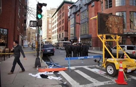Another look at the scene around Boylston Street on Tuesday.