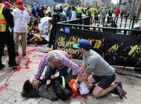 Chaos ensued at the finish line of the Boston Marathon when two bombs exploded on Monday afternoon, injuring dozens and killing several.