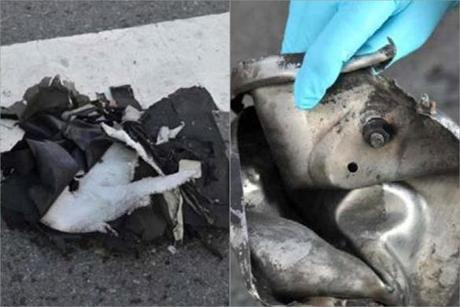 At left, the remains of a backpack the FBI says contained one bomb, and at right, the remains of a pressure cooker that the FBI says was part of one of the bombs.