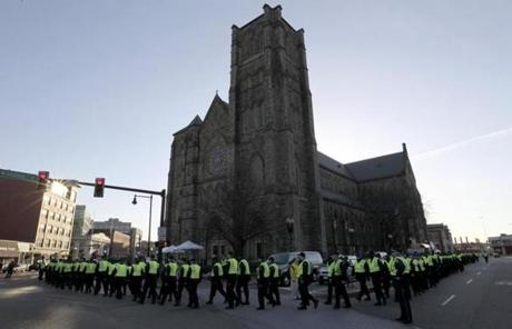 Boston Police circled the Cathedral of the Holy Cross in Boston's South End before President Obama's arrival.