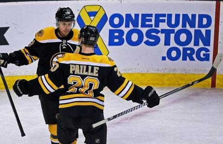 The Bruins advertised the OneFund Boston charity that officials set up to benefit the victims of the attack.