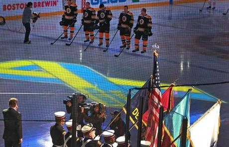 The highlight of the night was when national anthem singer Rene Rancourt yielded the song after just a few words to the crowd, which sang the remainder of the anthem en masse.