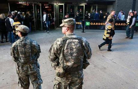 There was a heavy presence of police and national guard personnel at the game.