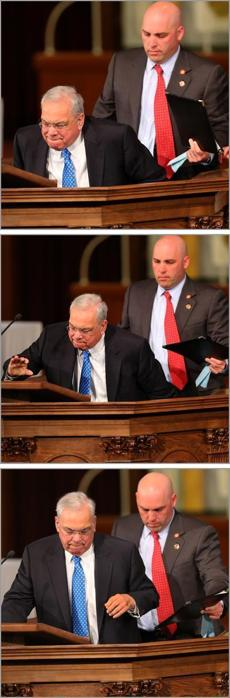 With his son's help, Mayor Thomas Menino left his wheelchair to speak from the pulpit Thursday.