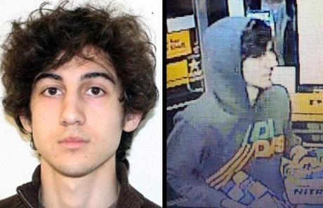 Authorities are searching for Dzhokhar Tsarnaev, the suspect seen in FBI photos in a white cap.