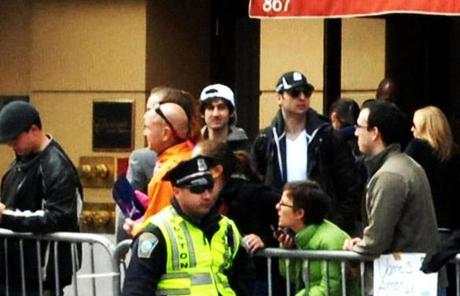 The bombing suspects together on the street, the day of the Boston Marathon attack.