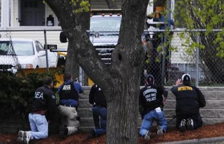 Law enforcement agents closed in on Dzhokhar Tsarnaev.