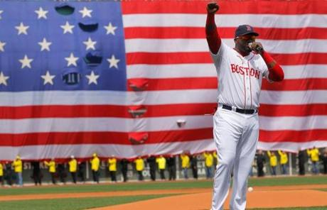 David Ortiz spoke before the game at Fenway.
