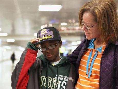 Darlyne Johnson and her son, 13-year-old Michael, were away in Florida when the Boston Marathon was bombed.