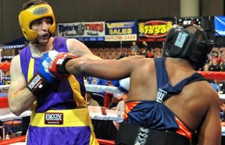 Tamerlan Tsamaev (left) during a boxing  in Utah in 2009.
