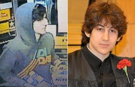 Dzhokhar A. Tsarnaev, pictured at a Cambridge gas station early Friday morning (left) and after graduating from Cambridge Rindge and Latin High School.