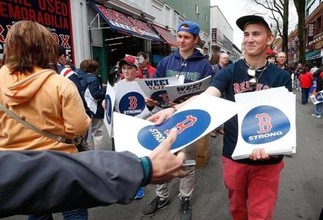 The scene outside Fenway Park.