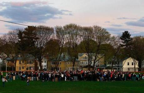 Watertown residents gathered for a vigil a day after a manhunt in the area ended with the apprehension of 19-year-old bombing suspect Dzhokhar A. Tsarnaev.