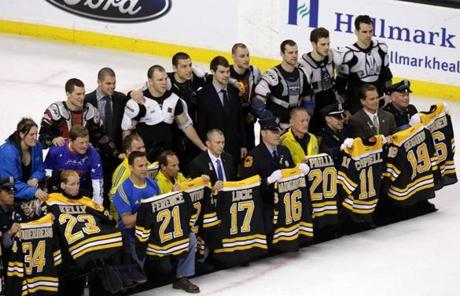 The Bruins gave their signed jerseys to first responders after today's 3-0 win over the Panthers, at the request of season ticket holders.