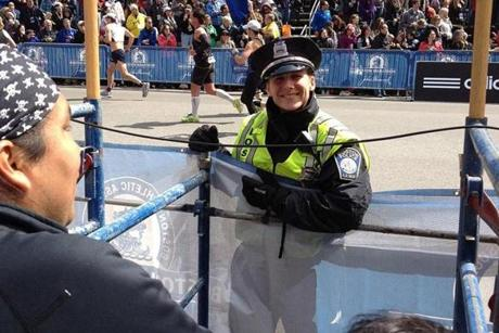 This photo of Boston Police Officer Shana Cottone was taken about 25 minutes before the bombs exploded.