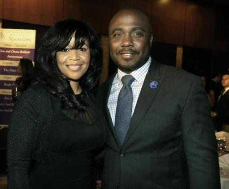 4-20-2013 Boston, Mass. Over 200 guests attnded the ''Bright Lights, Big City'' Gala held at the Ritz Carlton Boston Hotel, the raised 200, 000 dollars. L. to R. are Nicole Maxey of Boston and former New England Patriot Marshall Faulk. Globe photo by Bill Brett