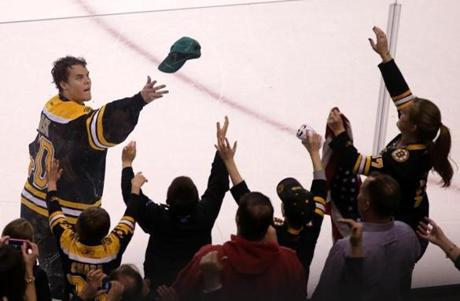 Boston, MA - 04/21/13 - (3rd period) In a gesture of fan appreciation Boston Bruins goalie Tuukka Rask (40) and teammates tossed hats and T shirts to the fans. The Boston Bruins take on the Florida Panthers at TD Garden. - (Barry Chin/Globe Staff), Section: Sports, Reporter: Shinzawa, Topic: 22Panthers Bruins, LOID: 6.1.2107375947.