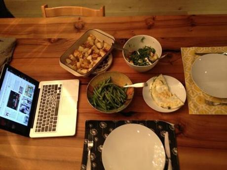 Rebecca Pacheco's kale salad, green beans, roast potatoes, and arugula and goat cheese omelet.