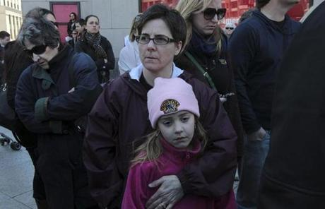 Christine Hepler and her daughter Rose attended a memorial service at Boylston and Berkeley streets.