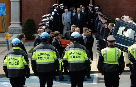 In the first funeral for victims of the Marathon bombings, Campbell was laid to rest in front of a capacity crowd at the church.