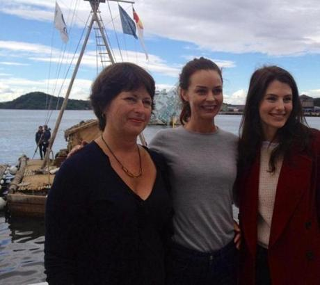 "From left: Liv Rockefeller, Agnes Kittelsen (who plays Rockefeller's mother in ""Kon-Tiki""), and Josian Heyerdahl (granddaughter of Thor Heyerdahl)."