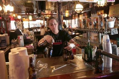 Bartender Maradyth Mure cleaned up at Whiskey's Smokehouse.