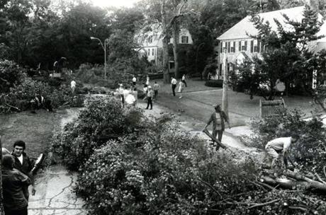 August 9, 1972: Damage to the streets in the Chestnut Hill section of Brookline followed a tornado which hit the area in the late afternoon. Most severely affected by the tornado was the Longwood Cricket Club where Cynthia Cox, 14, of Weston was killed while taking refuge at poolside in the Cricket Club.The Longwood tragedy was preceded by a 10 minute severe thunderstorm. A large clock on the stone wall of the clubhouse was stopped abruptly when the tornado struck at 4:44 pm.
