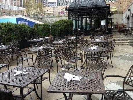 These tables were set at a restaurant for a meal that was never served due to the bombing evacuations.