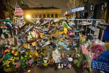 The makeshift memorial in Copley Square after Boylston Street was reopened Wednesday morning.